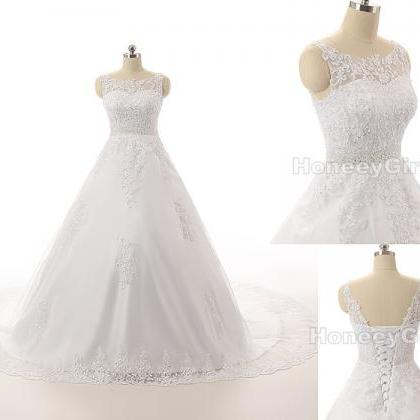Lace Wedding Dresses A-line Scoop Sleeveless Princess Bridal Dresses, Lace-up Back Empire Elegant Bridal Gowns Real Made