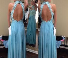 New Arrival Evening Dress,Blue Evening Dress,High Collar Evening Dress,Lace Evening Dress,Chiffon Evening Dress,Open Back Evening Dress,Long Party Dresses HG248