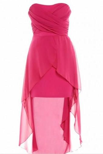 Strapless Party Dress, High Low Prom Dresses,Simple Prom Dress, Chiffon Bridesmaid Dresses HG1660