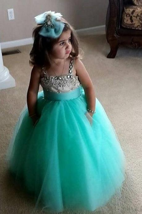 F04 Flower Girl Dress,Beaded Flower Gril's dress,Custom Flower Girl Dress,Girl's Birthday Party Dress,Girls Pageant Gown,Handmade Flower Girl dress,Lovely Green Flower Girl dress